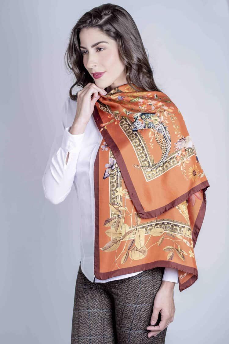 SABRINA Rust 100% Italian silk scarf