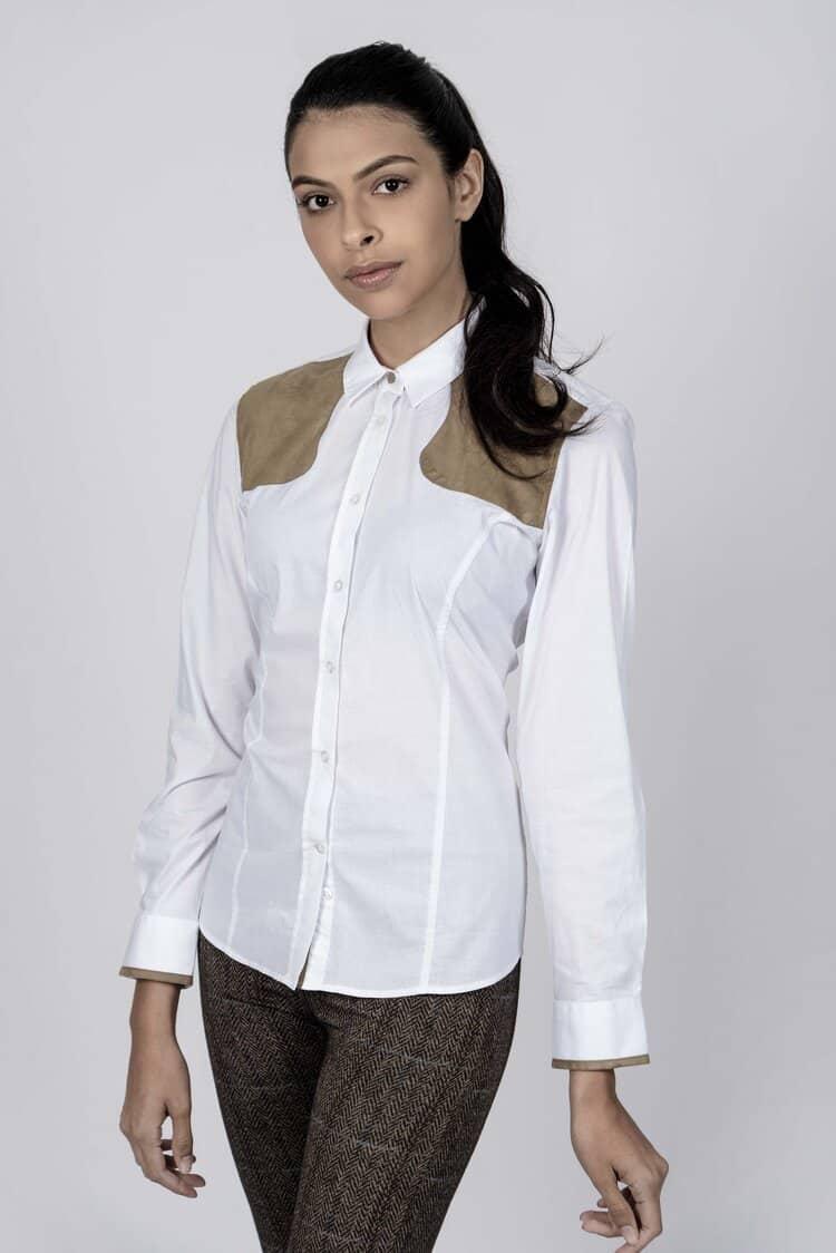 ADRIAN White Shooting cotton satin luxury shirt