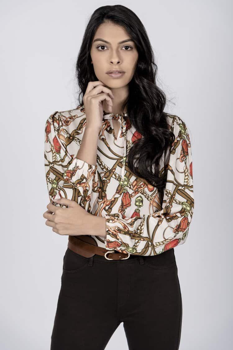 GRACE Horse Chain luxury viscose blouse
