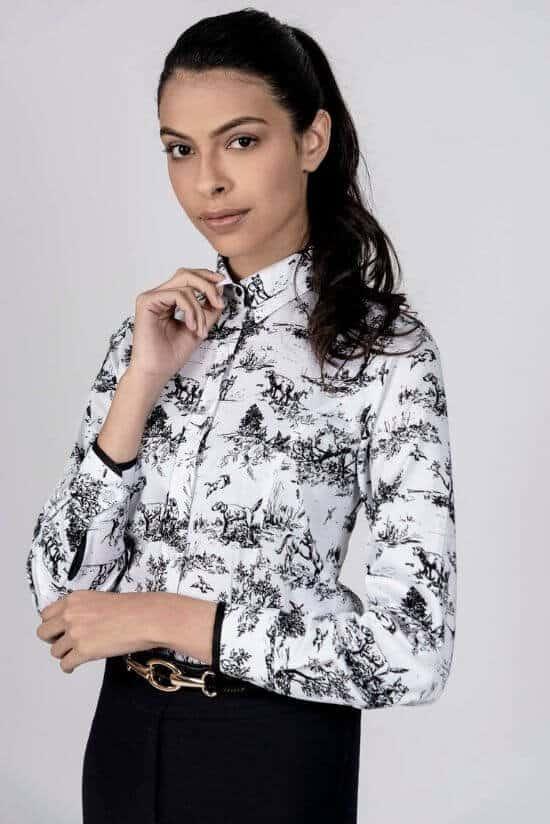 LAYLA B/W Hunting luxury cotton satin shirt with Lycra