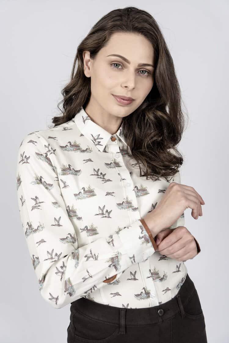 LAYLA Flying Ducks luxury cotton satin shirt with LYCRA