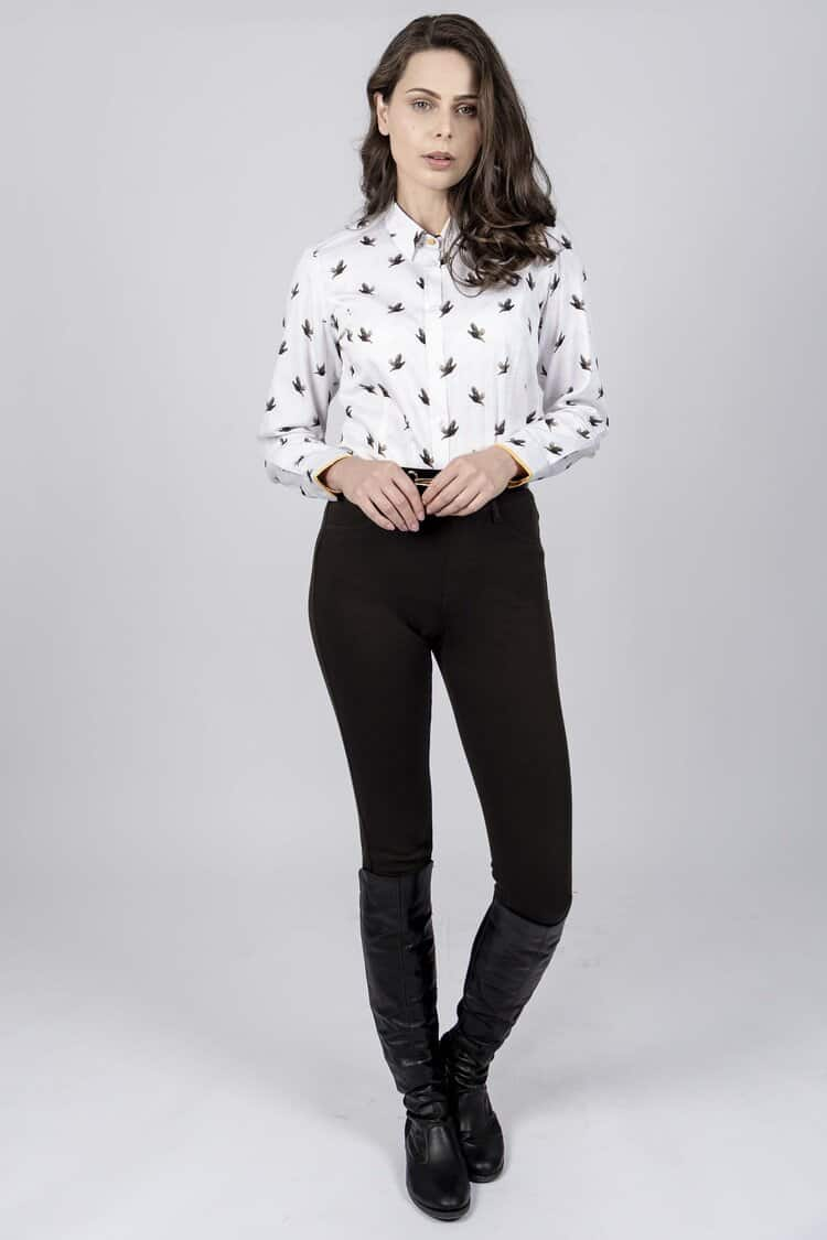 LAYLA Grouse luxury cotton satin shirt with LYCRA