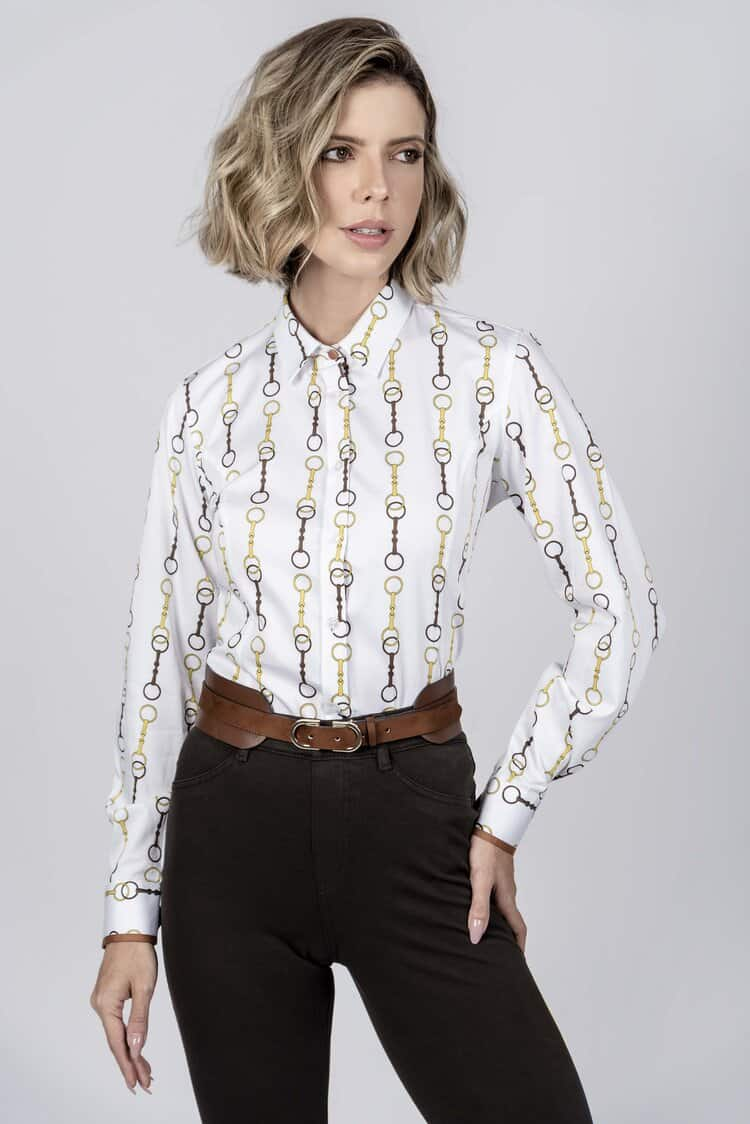 LAYLA New Snaffle luxury cotton satin shirt with LYCRA