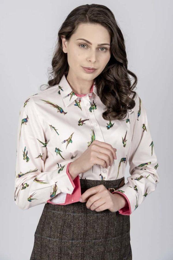 LAYLA Pink Birds luxury cotton satin shirt with LYCRA