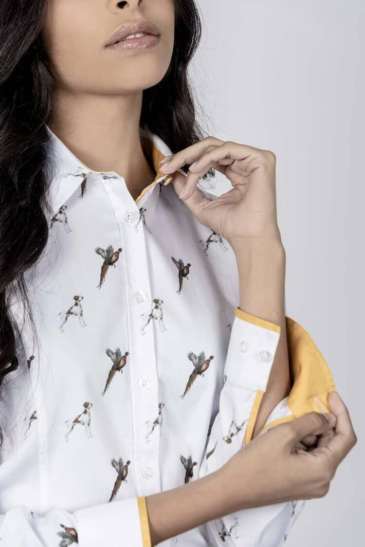 LAYLA Pointer luxury cotton satin shirt