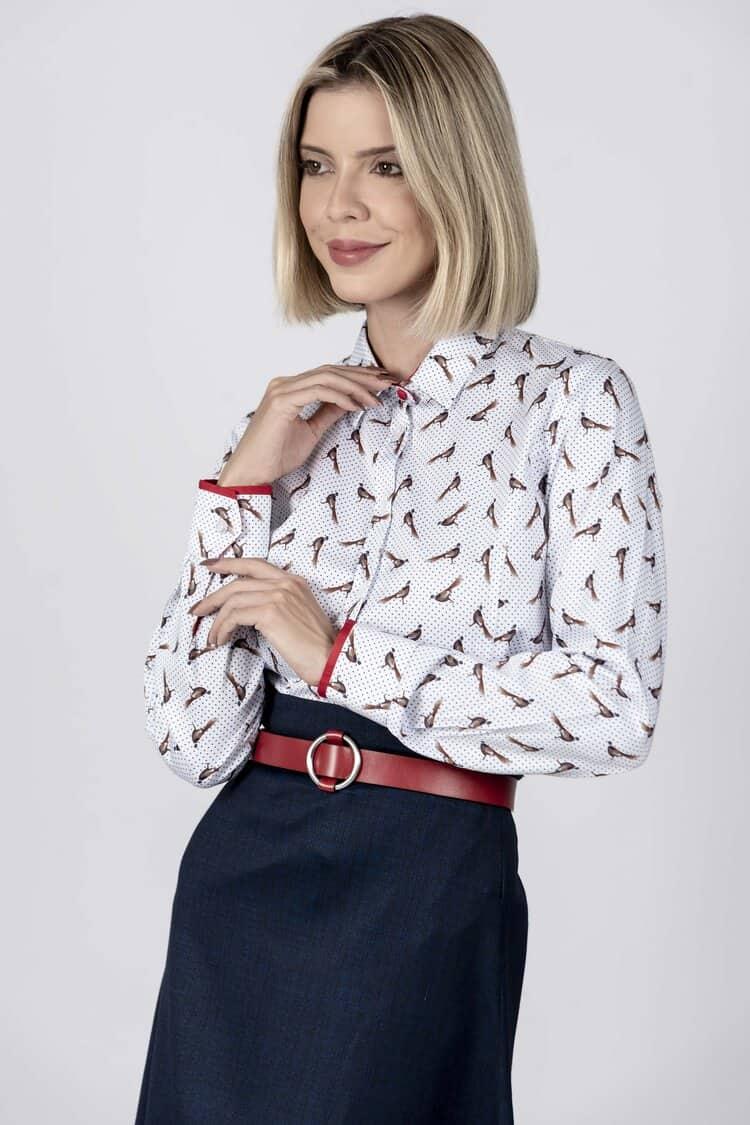 LAYLA Polka Dot Pheasant luxury cotton satin shirt with LYCRA