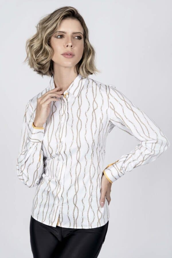 LAYLA White Pearls luxury cotton satin shirt with LYCRA