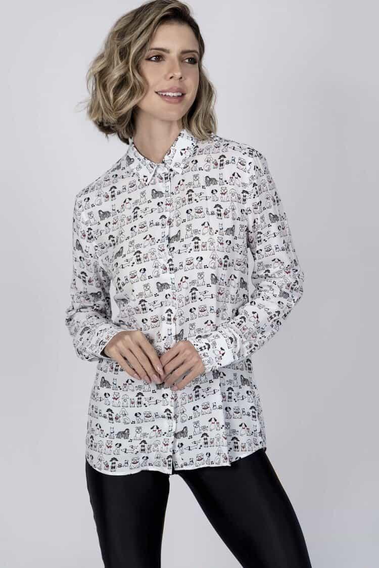 LYDIA Dogs luxury viscose shirt