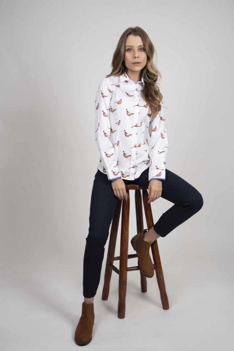 LAYLA 2 Pheasants luxury cotton satin shirt with Lycra