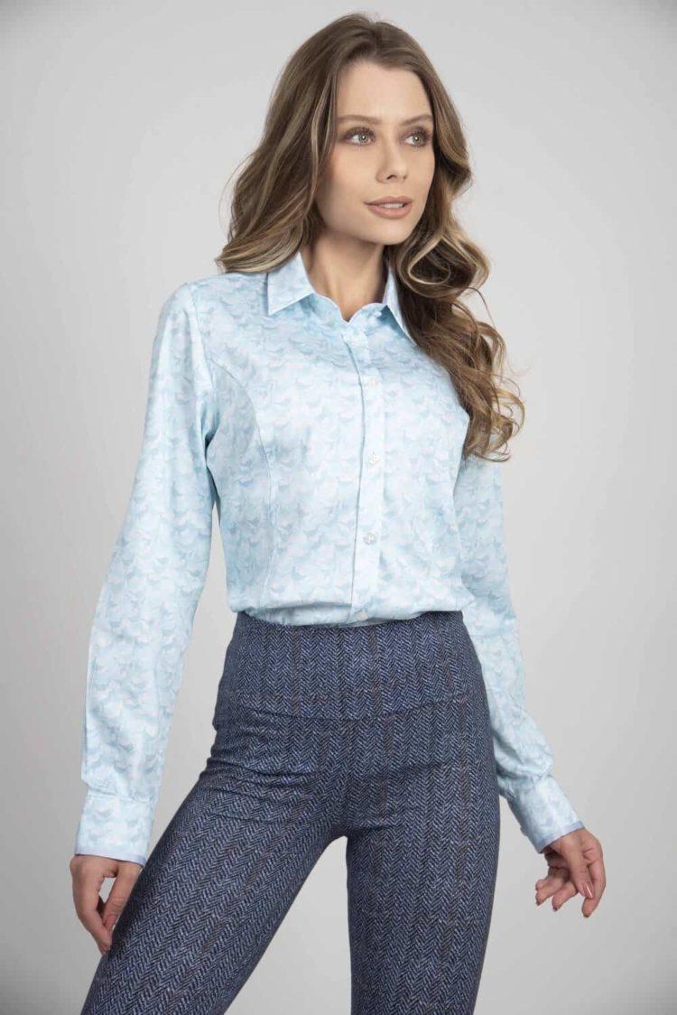 LAYLA Blue Pheasant camouflage luxury cotton satin shirt with Lycra