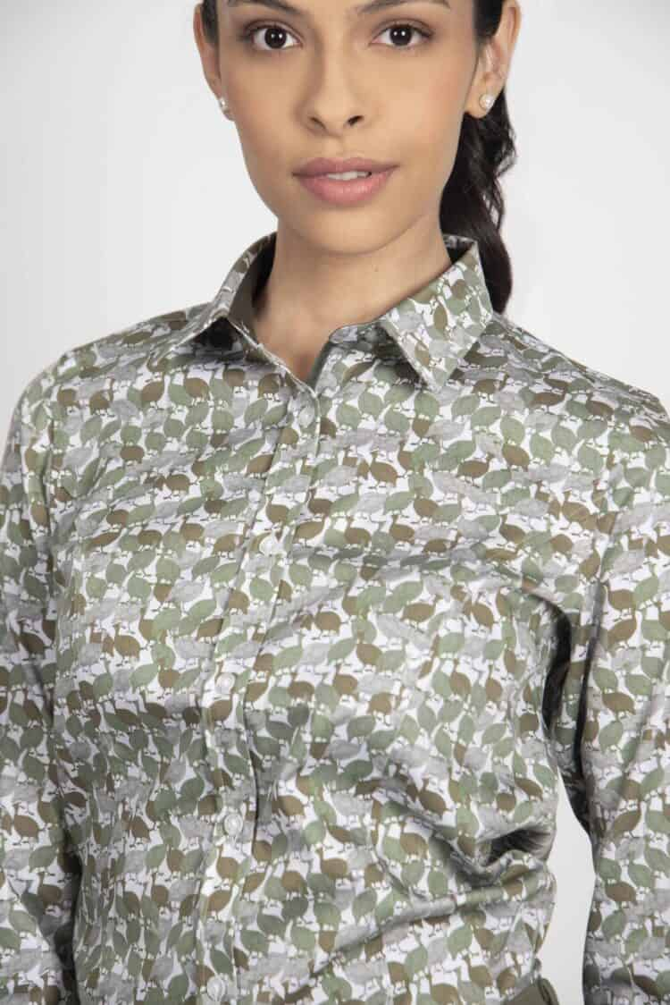 LAYLA Green Guinea Fowl camouflage luxury cotton satin shirt with Lycra