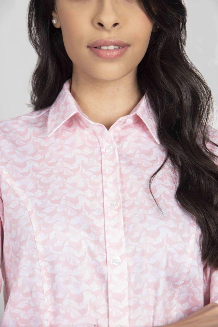 LAYLA Pink Pheasant camouflage luxury cotton satin shirt with Lycra