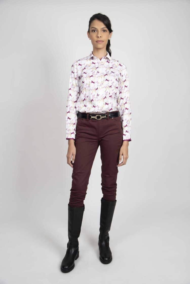 LAYLA Wild Horses luxury cotton satin shirt with Lycra