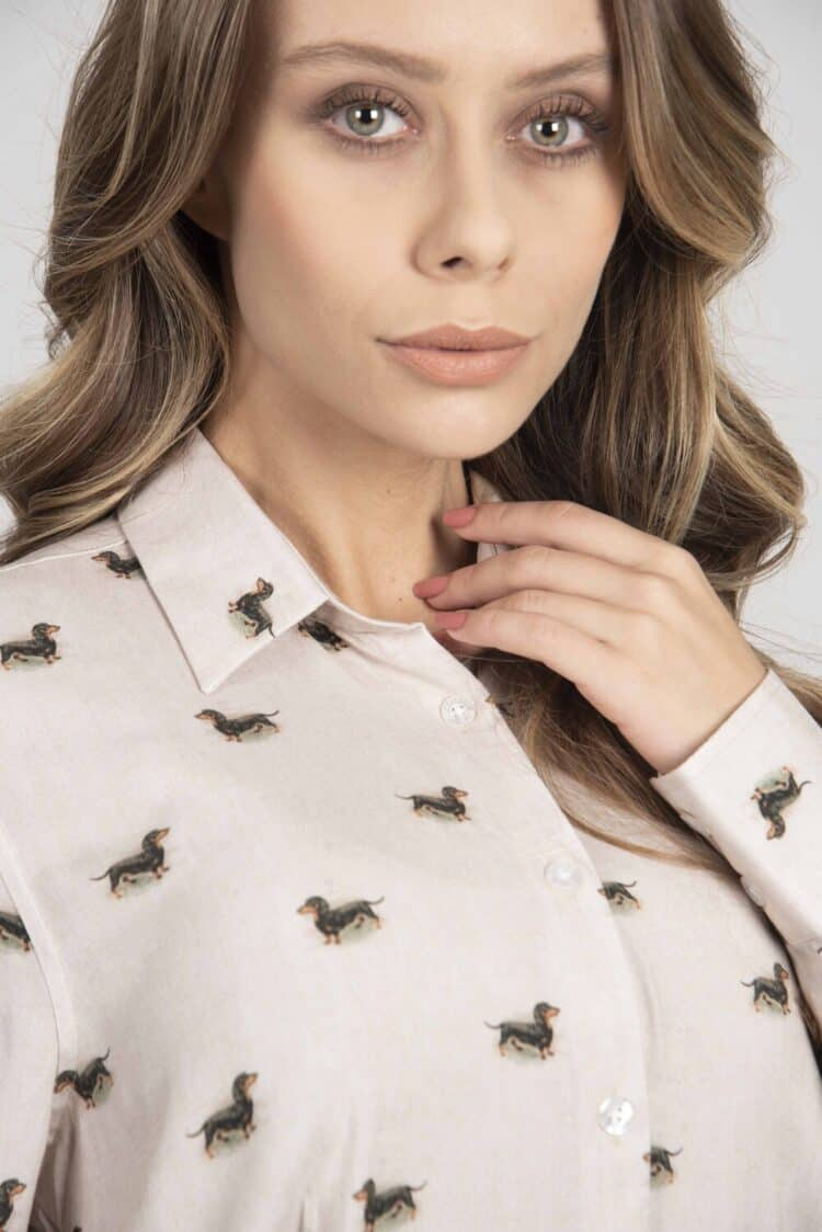 LYDIA Beige Dachshund luxury viscose shirt