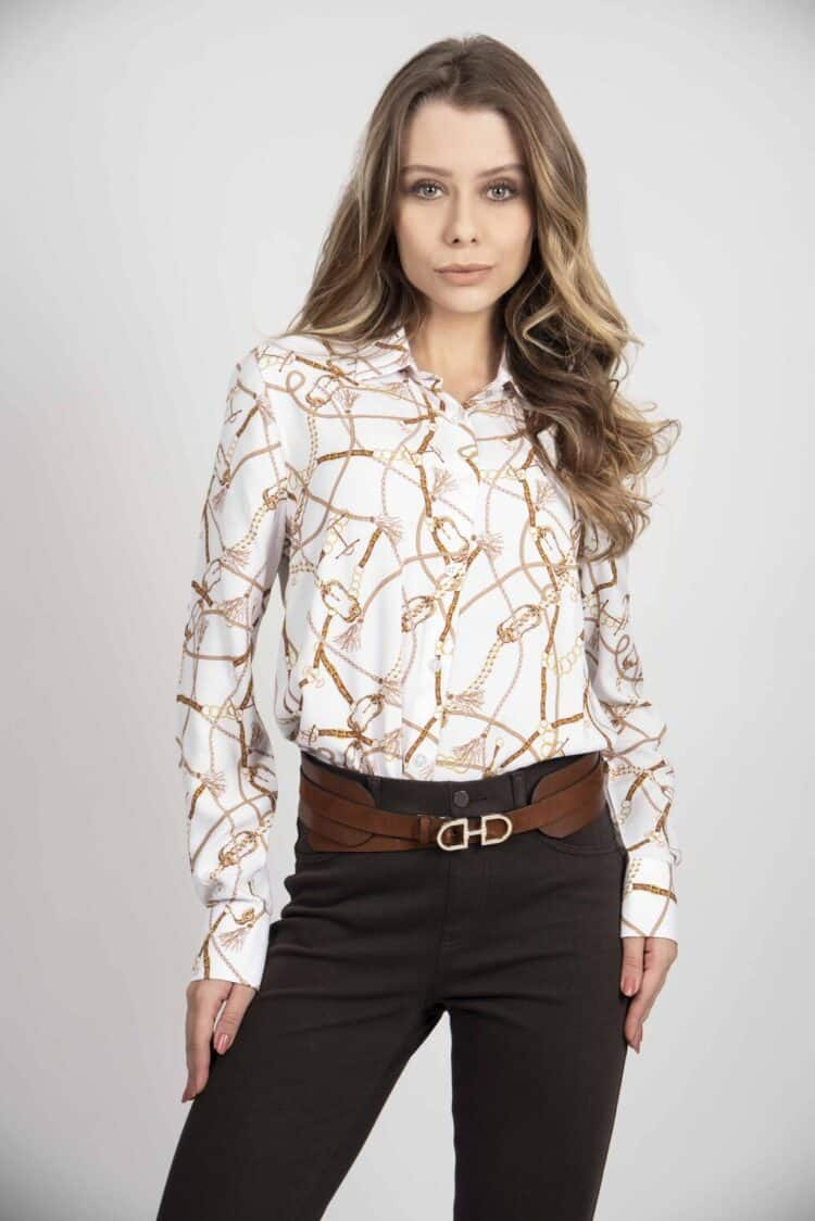 LYDIA New White Chains luxury viscose shirt