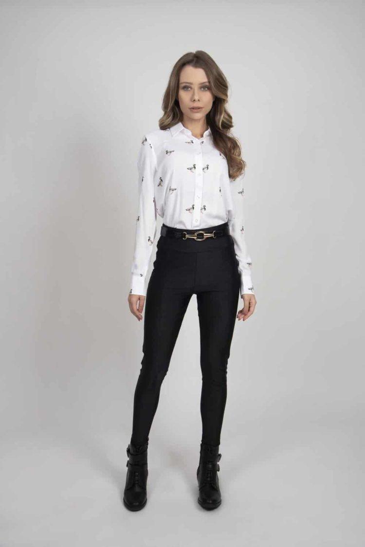 LYDIA White Mallard Ducks luxury viscose shirt