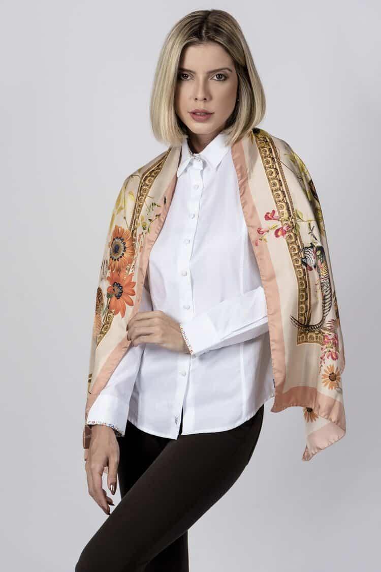 SABRINA 100% Italian silk scarf – PEACH