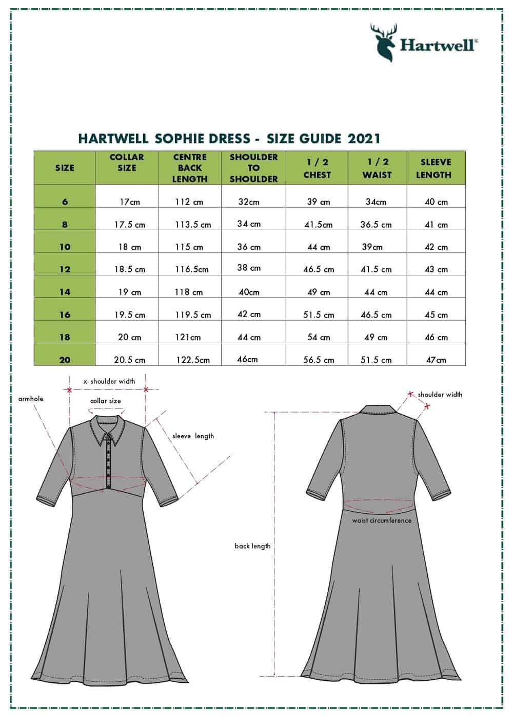SOPHIE SIZE GUIDE