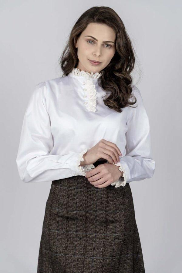 TRACEY White Frill luxury cotton satin shirt