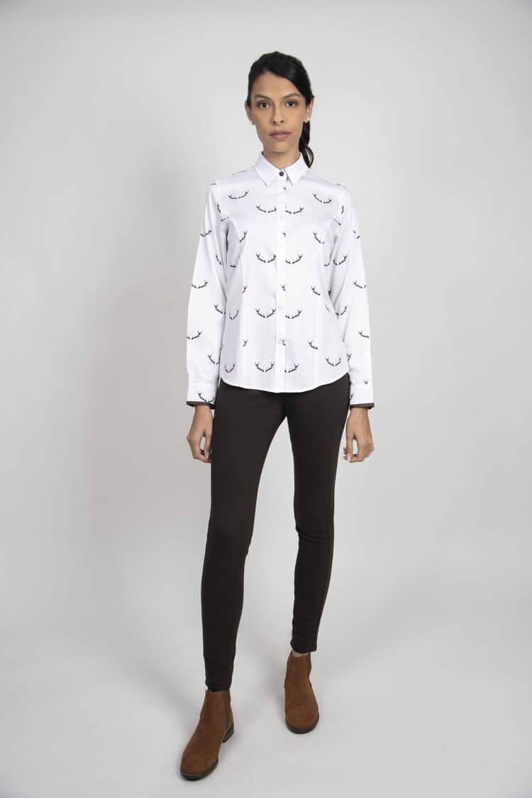 LAYLA Antlers luxury cotton satin shirt with LYCRA