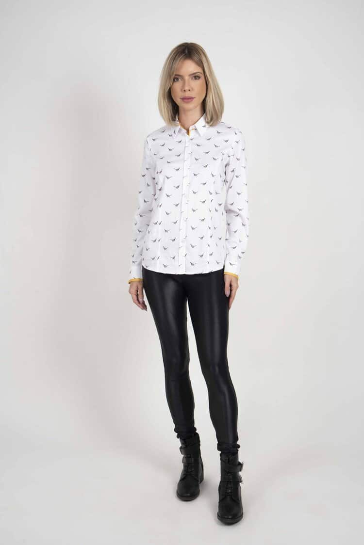 LAYLA Black & Colourful Pheasants luxury cotton shirt with LYCRA