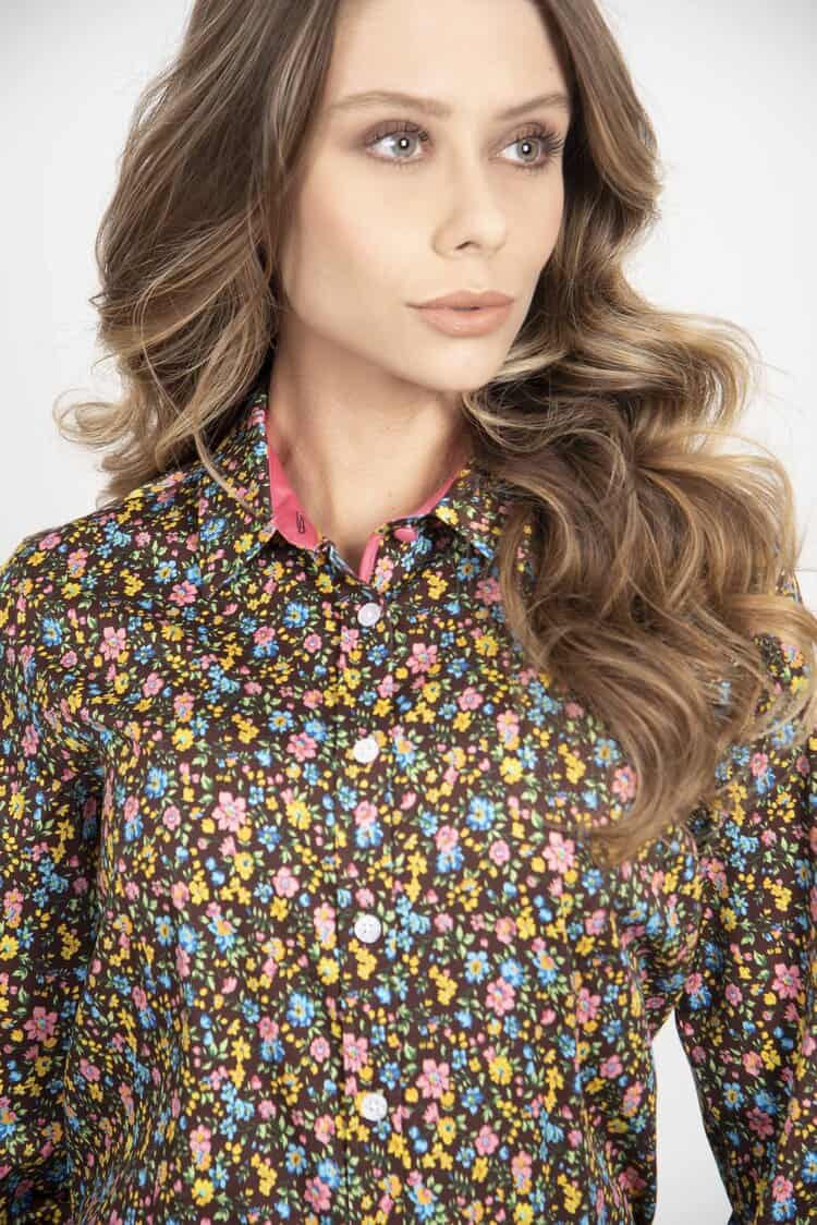 LAYLA Ditsy Pink luxury cotton satin shirt with LYCRA