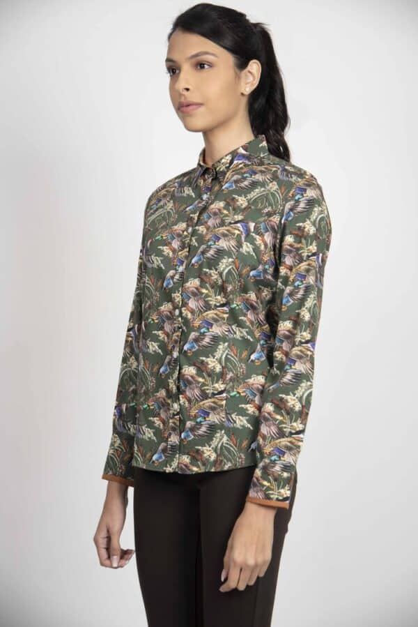 LAYLA Green Ducks & Reeds luxury cotton shirt with LYCRA
