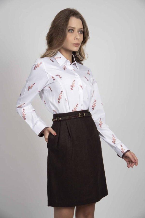 LAYLA Pink Eucalyptus luxury cotton shirt with LYCRA