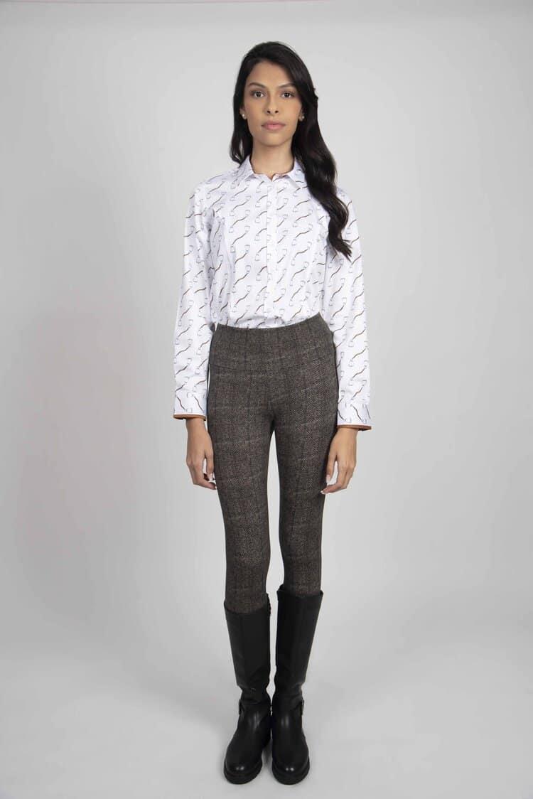 LAYLA Stirrups luxury cotton satin shirt with LYCRA