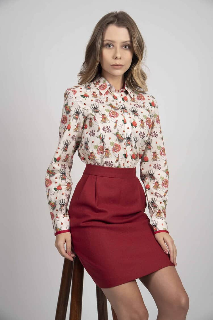 LAYLA Insect Flowers luxury cotton satin shirt with LYCRA