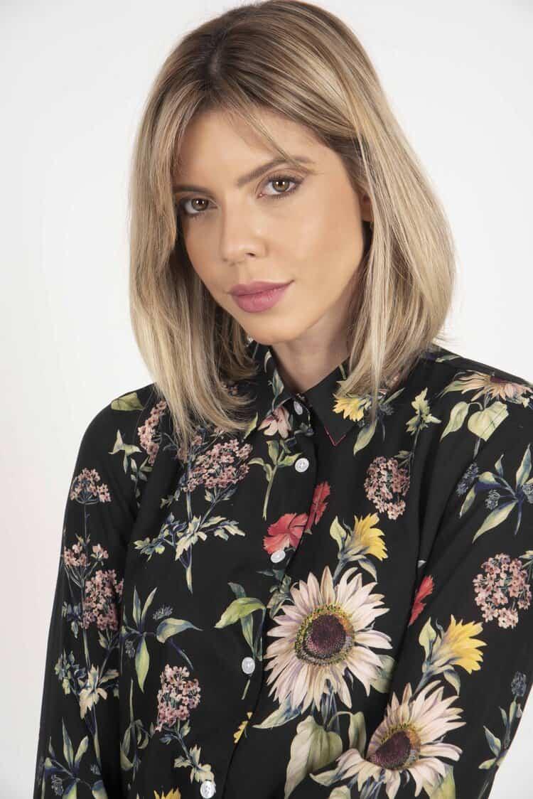 LYDIA Black Flowers luxury viscose shirt
