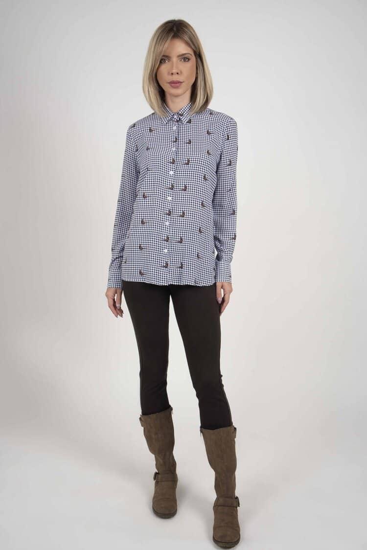 LYDIA Houndstooth luxury viscose shirt