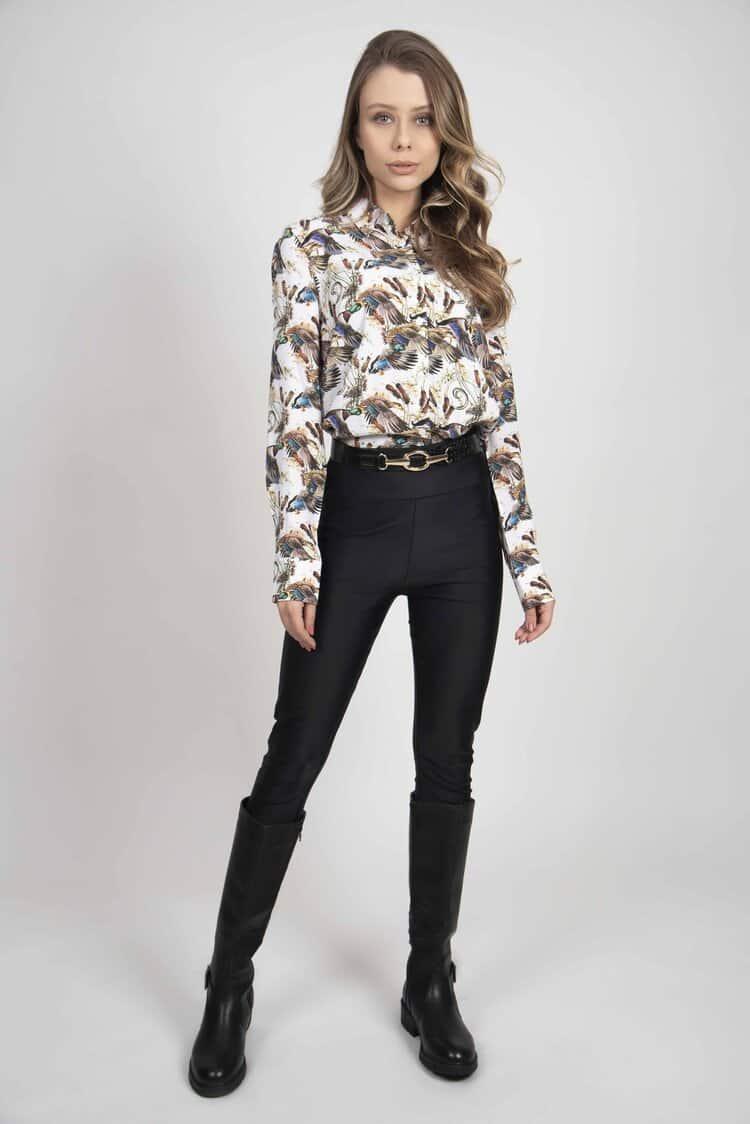 LYDIA White Ducks & Reeds luxury viscose shirt