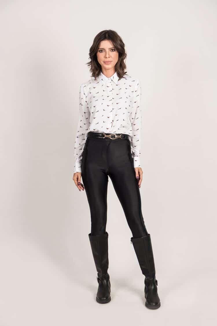 LYDIA White Pheasant Party luxury viscose shirt