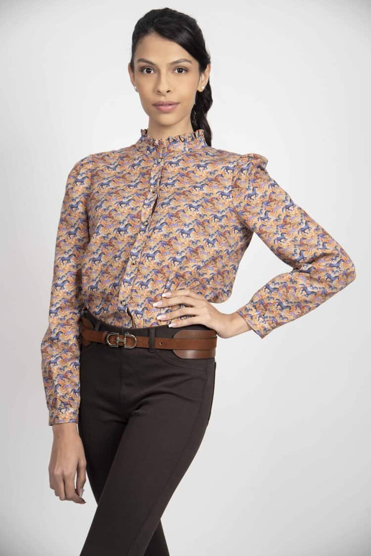 MALU Running Horses frill-neck luxury blouse