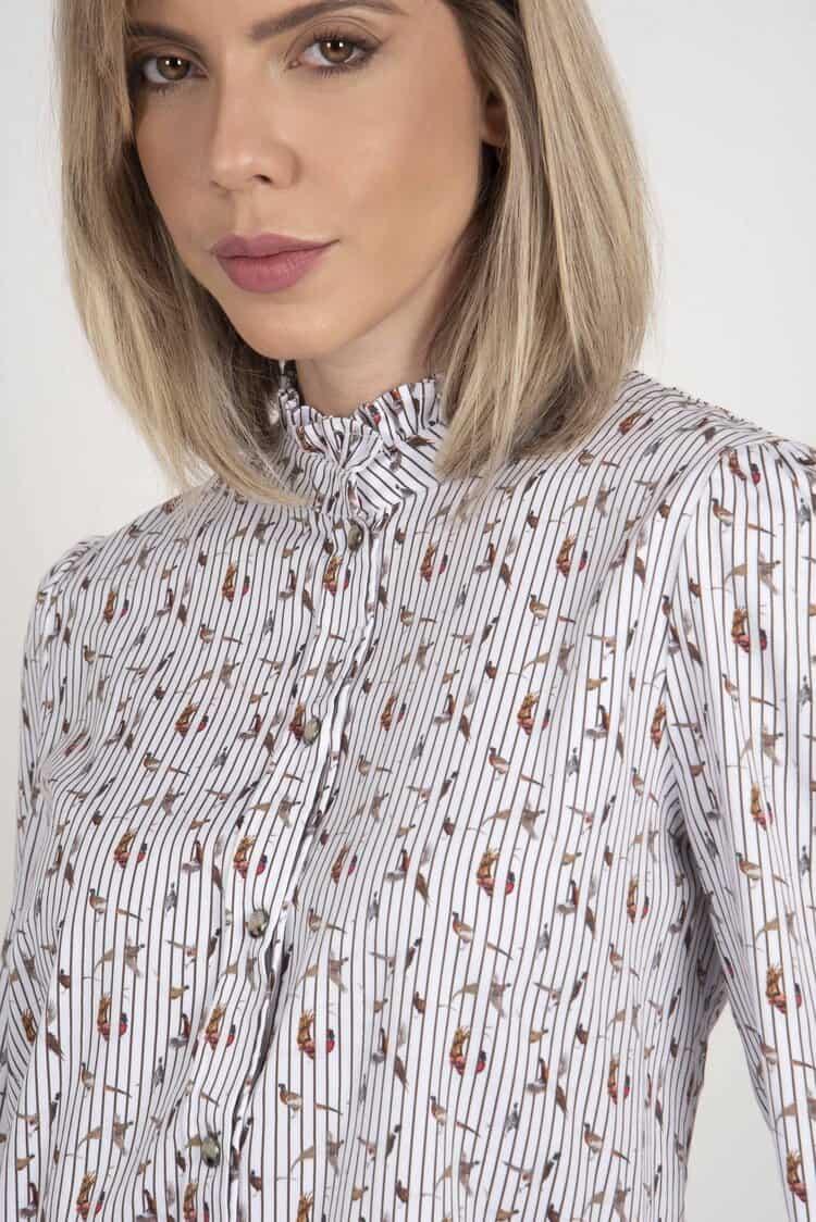 MALU Stripe Pheasant frill-neck luxury blouse