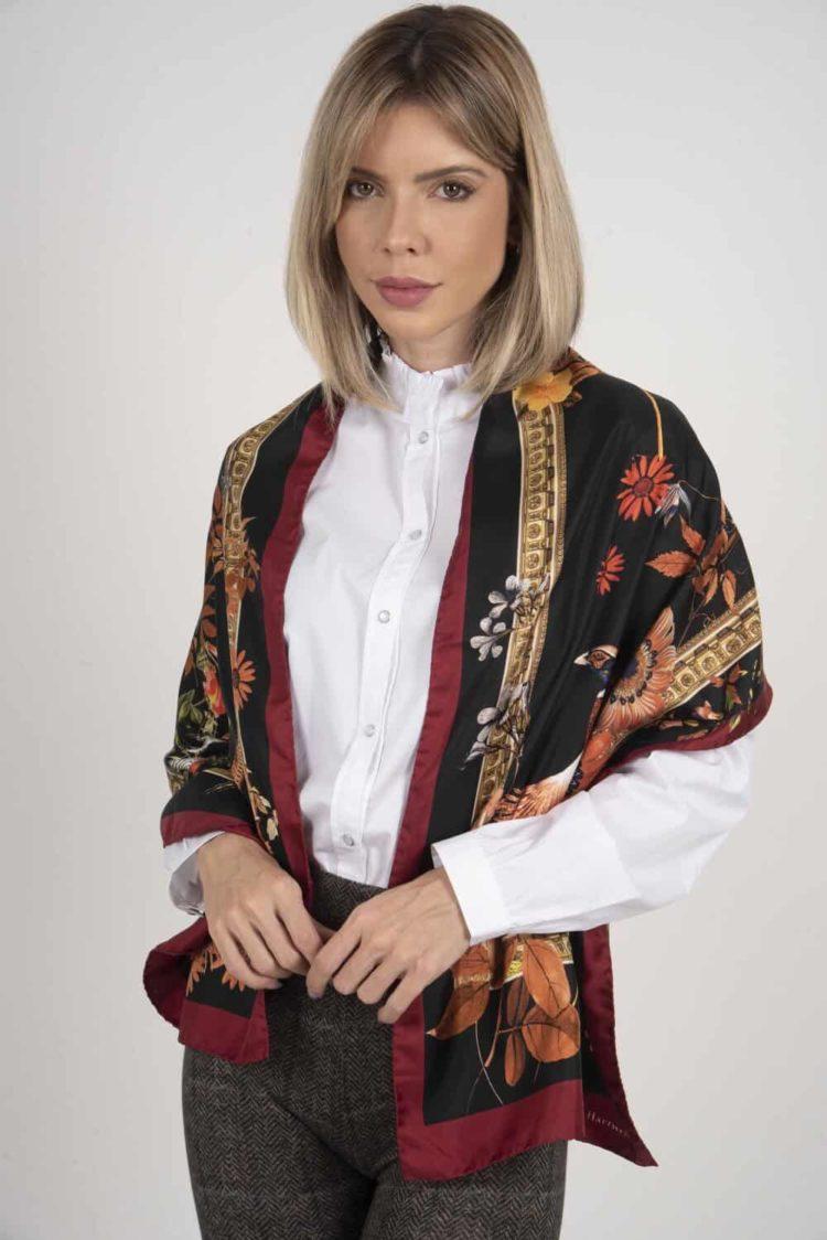 SABRINA 100% Italian silk scarf – BLACK