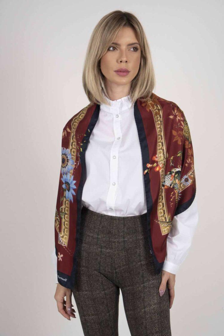 SABRINA 100% Italian silk scarf – BURGUNDY