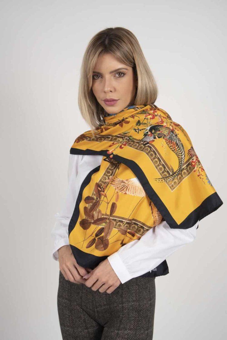SABRINA 100% Italian silk scarf – GOLD