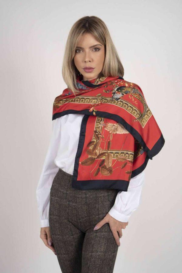 SABRINA 100% Italian silk scarf – RED