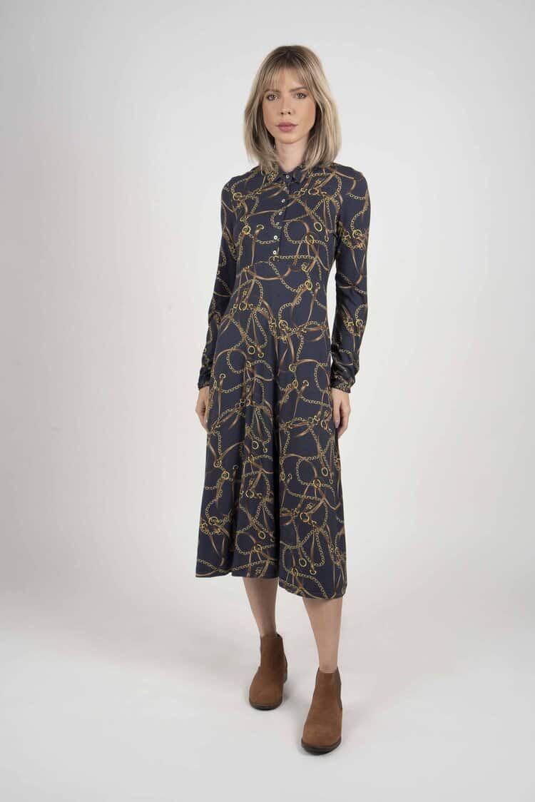 SOPHIE Navy Horse Chains dress