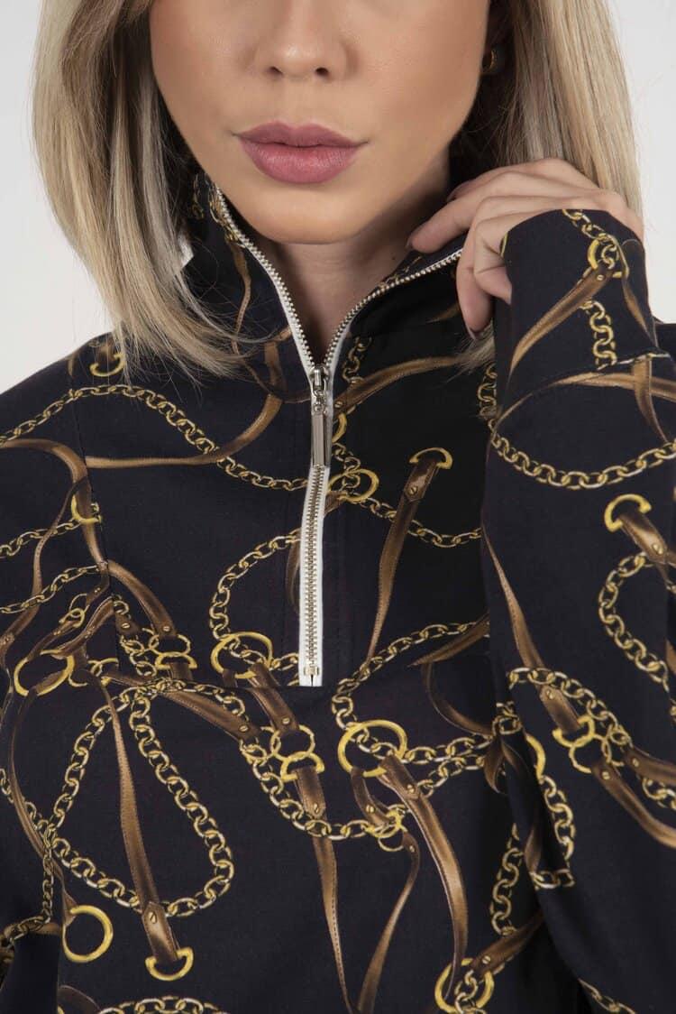 SUZY Navy Horse Chains 100% cotton sweatshirt
