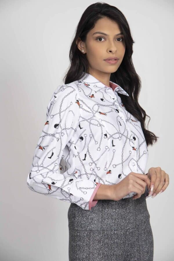 ZOE Silver Horse Chains luxury Oxford Cotton shirt
